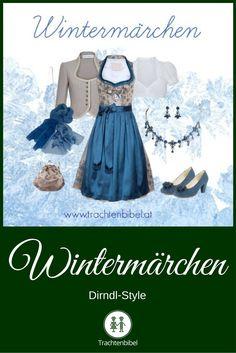 Ein winterlich eleganter Dirndl-Look in Taupe und Blau - ein richtiges Wintermärchen!
