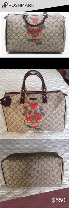 """Gucci Monogram Medium Tote. Authentic Gucci GG Monogram Tattoo Heart Joy Boston in brown. Crafted of Gucci GG monogram coated canvas with hearts and roses classic tattoo Gucci print. Spacious fabric interior. Great tote for everyday use. This bag is in excellent condition . This bag design is no longer available and it's definitely a collectors item!Height :9"""" Strap drop: 3.5"""" . Bag Length: 13"""" Bag Depth: 7"""". Gucci Bags Totes"""