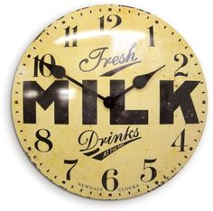 Newgate Clocks Milk Wall Clock, convex and large at 50 cm diameter and depth. In antique cream. Barn Light Electric, Electric Clock, Kitchen Clocks, Kitchen Stuff, Kitchen Dining, Tin Walls, Wall Clock Design, Thing 1, Antique Clocks