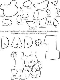 Mother's Day and Father's Day Free Scrapbook Patterns: Father's Day Free Teddy Bear Paper Piecing Pattern