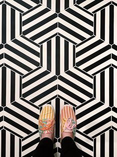 patterned cement hexagon floor tile hedron is our striped hex which, when woven together, produces one of the most dynamic of our geome Ceramic Floor Tiles, Bathroom Floor Tiles, Hexagon Floor Tile, Ceramic Art, Geometric Tiles, Geometric Patterns, Modern Patterns, Geometric Painting, Geometric Shapes