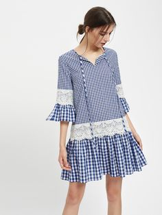 SheIn offers Lace Detail Fluted Sleeve Mixed Gingham Dress & more to fit your fashionable needs. Modest Dresses, Simple Dresses, Casual Dresses, Girls Dresses, Dress Outfits, Fashion Dresses, Tartan Fashion, Fancy Dress Design, Kurti Designs Party Wear