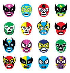 Illustration of Lucha libre, luchador mexican wrestling masks icons vector art, clipart and stock vectors. Design Set, Mask Design, Mexican Wrestler, Posca Art, Mexican Designs, Wrestling, Thinking Day, Stock Foto, Masks Art