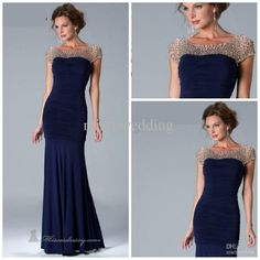 Wholesale Hot sale Bateau Mermaid Sweep Chiffon Cap sleeves Dark Navy Mother of the bride dresses Evening gown, Free shipping, $130.68/Piece | DHgate