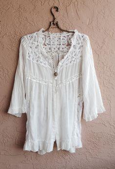 White Lace and cotton kimono jacket with lace up por BohoAngels, $80.00