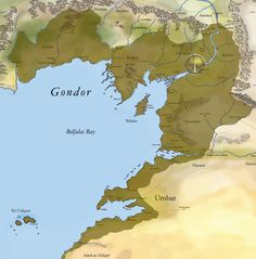 Map of Gondor (Holy shenanigans it's huge! But Tolkien probably wouldn't have approved of this map; he was really particular about cartography, apparently)