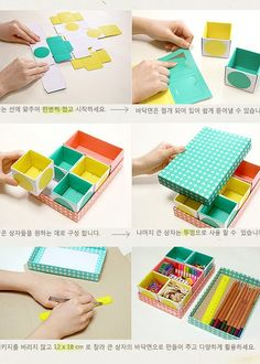 DIY paper box organizers http://hearthandmadeuk.blogspot.com/2011/05/korean-stationery-love-desk-top-diy.html?utm_source=feedburner_medium=feed_campaign=Feed%3A+hearthandmadeuk+%28Heart+Handmade%29