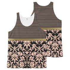 Black and Rose Stripes and Damask Floral Print All-Over Print Tank Top Tank Tops