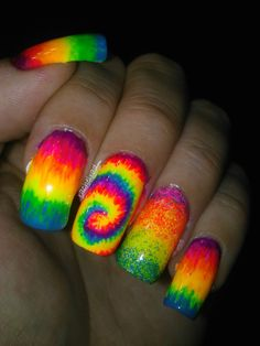 Amazing neon rainbow nails. Mine would have to be short though....I don't do long nails