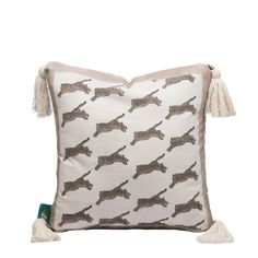 This running leopard hand block printed cotton cushion comes with a tawny striped block print on the other side and white tassels. It comes separately packaged with a duck down cushion. Garden Cushions, Peacock Pattern, Lotus Design, Leopard Prints, Blue Garden, Printed Cushions, Leopards, Gold Ink, Wow Products