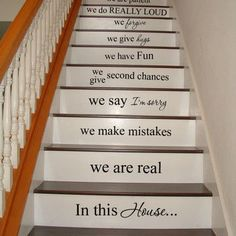 In this house - STAIR CASE Stairway - Art Wall Decals Wall Stickers Vinyl Decal Quote Now I'm wishing I had stairs so I can do this. Attic Renovation, Attic Remodel, Attic Bathroom, Attic Rooms, Attic House, Attic Playroom, Attic Apartment, Attic Spaces, Apartment Therapy