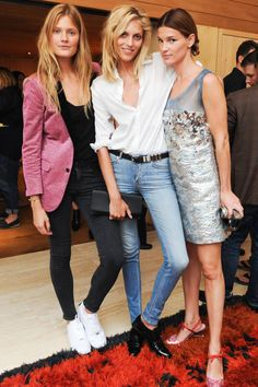 Constance Jablonski, Anja Rubik and Hanneli Mustaparta at the Frame Denim dinner. Our favorite snaps of who wore what from the chicest parties of #NYFW: