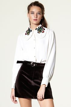 Robina Flower Collar Blouse Discover the latest fashion trends online at storets.com #FlowerCollar #Blouse #ivory