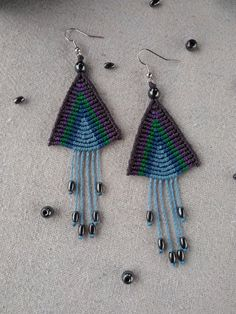 Macrame earrings, triangle earrings, multicolor earrings, boho earrings, tibetan earrings