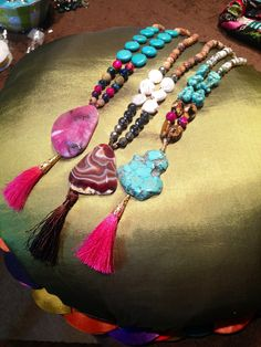Boho Gemstone Tassel Necklace by EmilyGailCollections on Etsy, $58.00