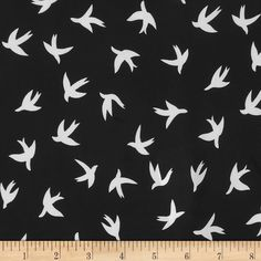Moda Crepe Bird Black/White from @fabricdotcom  Fashionable, very lightweight and soft, this crepe fabric is perfect for trendy blouses, scarves, fashionable flowy dresses and skirts.with a lining. Colors include black and white. This crepe fabric has an opaque appearance, much like Crepe Georgette, but has a finer weave.