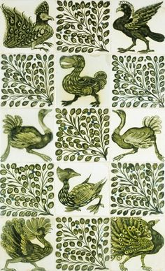 Birds and leaves by William De Morgan, b