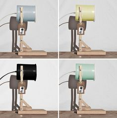 Design studio iLiui, have created this modern table lamp that uses wood and matte painted recycled tin cans as part of the design.