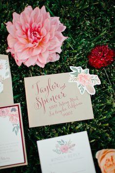 garden wedding invitations, photo by Megan Welker Photography http://ruffledblog.com/garden-romance-wedding-inspiration #stationery #weddinginvitations