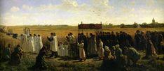 "Jule Breton: ""The Blessing of the Wheat in Artois"", 1857, oil on canvas, Height: 130 cm (51.18 in.), Width: 320 cm (125.98 in.), Musée des Beaux-Arts d'Arras  (France - Arras)."