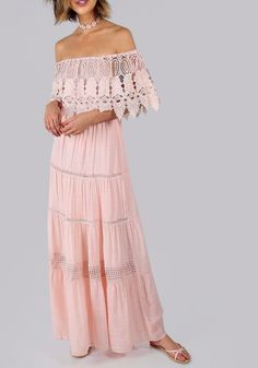 Pink Off the Shoulder Half Sleeve Bardot Lace Tiered A Line Boho Maxi Dress New | eBay