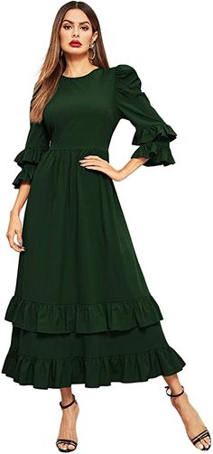 MakeMeChic Women's Elegant Tiered Layer Ruffle Hem Flounce Sleeve Zipper Back Cocktail Maxi Dress at Amazon Women's Clothing store Sleeve Designs, Girls Be Like, Fit And Flare, What To Wear, Elegant, Photo Shoot, Sleeves, Cocktail, Zipper