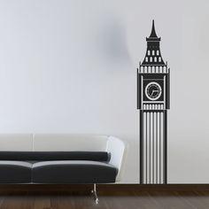 Wall Decal Big Ben Clock Vinyl Wall Art Sticker - Living Room Nursery Bedroom. $42.00, via Etsy.