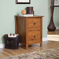 File Cabinet In Abbey Oak Finish And Mission Inspired Pulls.