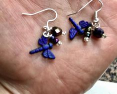 Purple Dragonflies Glass Crystal Dangle Earrings Doodaba Purple Earrings, Dangle Earrings, Glass Crystal, Dragonflies, Dangles, Crystals, Trending Outfits, Unique Jewelry, Handmade Gifts
