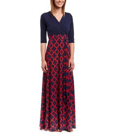Look at this Navy & Red Quatrefoil Surplice Maxi Dress on #zulily today!