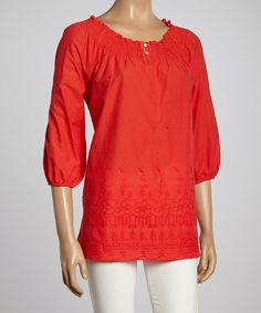 This Ruby Grape Embroidered Peasant Top by Millenium Clothing is perfect! #zulilyfinds