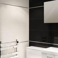 60cm x 30cm Absolute Black Polished Wall/Floor Tile (Box of 8) - Black And White Bathroom Ideas - Black Tiles - Better Bathrooms