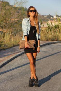 black dress + denim jacket