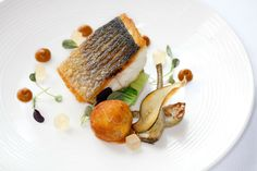 Roast Fillet of line caught Seabass served in the restaurant at the Manor House at Castle Combe
