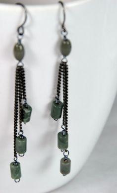 Olive Green Long Earrings. Elegant. Military by JunrylGems on Etsy
