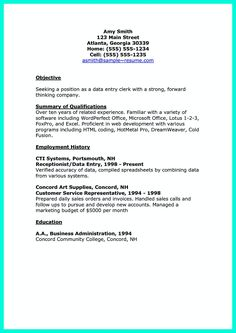 data entry resume objective
