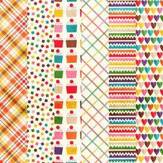Free freebie printable background pattern paper: hearts, cupcake, plaid