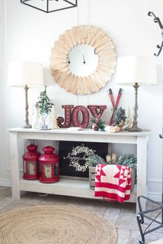 famhouse-christmas-entry-table-decor Like I mentioned before, it's Christmas tour week here at AKA Design. We'll be sharing our farmhouse Christmas entry and landing. Silver Christmas Decorations, Rustic Christmas, Christmas Home, Christmas Ideas, Christmas Mantles, White Christmas, Vintage Christmas, Christmas Vignette, Christmas Truck