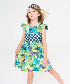 Green Floral Angel-Sleeve Dress & Headband - Toddler & Girls