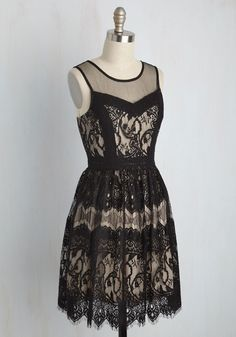 Elevate the Evening Lace Dress. Transform the night into an incredible evening by wearing this black lace dress. #black #modcloth
