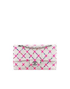 Classic flap bag, sequins & embroideries-silver & pink - CHANEL
