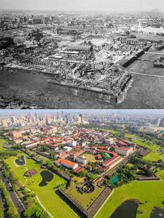 THE INTRAMUROS   * After Battle of Manila World War II  Location: General Luna St., Intramuros Manila  Wayback 1945  *Intramuros is also called the Walled City *Construction of the defensive walls was started by the Spanish Colonial government in the late 16th century to protect the city from foreign invasion *The battle destroyed its Churches, Universities, Houses and Government Buildings *the signed on April 9, 1979 is tasked to Rebuild, Redevelop, administer and preserve the buildings Filipino Architecture, Philippine Architecture, Philippines Culture, Manila Philippines, Architecture Concept Drawings, Historical Architecture, Fort Santiago, Intramuros, Walled City