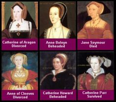 King Henry VIII's six wives. Catherine of Aragon (divorced); Anne Boleyn (beheaded); Jane Seymour (died); Anne of Cleves (divorced); Catherine Howard (beheaded); and Catherine Parr (predeceased by Henry VIII).