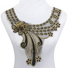 Cheap neckline collar, Buy Quality lace neckline directly from China lace neckline collar Suppliers: Smiry Hot Sale Craft Gold Collar Venise Rose Floral Lace Applique Trim Decorated Lace Neckline Collar Sewing Dress Decor Embroidery Neck Designs, Bead Embroidery Patterns, Beaded Embroidery, Embroidered Lace Fabric, Brocade Fabric, Lace Applique, Gold Collar, Lace Collar, Motifs Perler