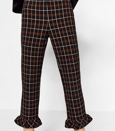 Zara Check Cropped Trousers