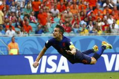 Robin van Persie flew through the air to score the World Cup's best goal so far