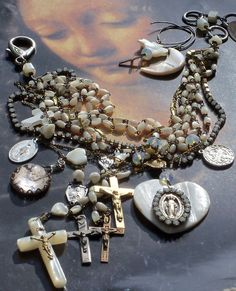 Too Much Heaven Antique French Mother of Pearl Rosary by angels9