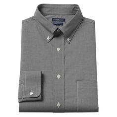 Men's Croft & Barrow® True Comfort Fitted Oxford Stretch Dress Shirt, Size: 17.5-32/33, Black