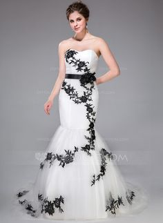 Trumpet/Mermaid Sweetheart Court Train Tulle Charmeuse Wedding Dress With Sash Appliques Lace Flower(s) Bow(s) (002031881)