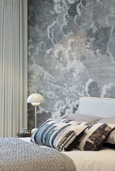 Louise Roe cushions Nuvolette wallpaper Cole & son